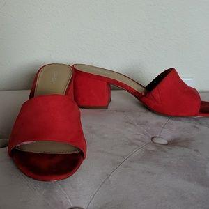 Red Open Toe Mule Heels